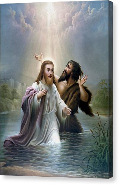 River Jordan Canvas Print - John The Baptist Baptizes Jesus Christ by War Is Hell Store