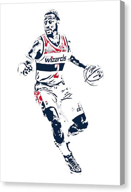 Washington Wizards Canvas Print - John Wall Washington Wizards Pixel Art 1 by Joe Hamilton