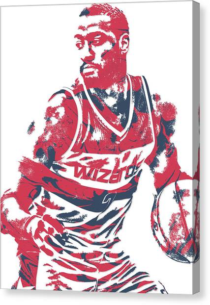 Washington Wizards Canvas Print - John Wall Washington Wizards Pixel Art 15 by Joe Hamilton