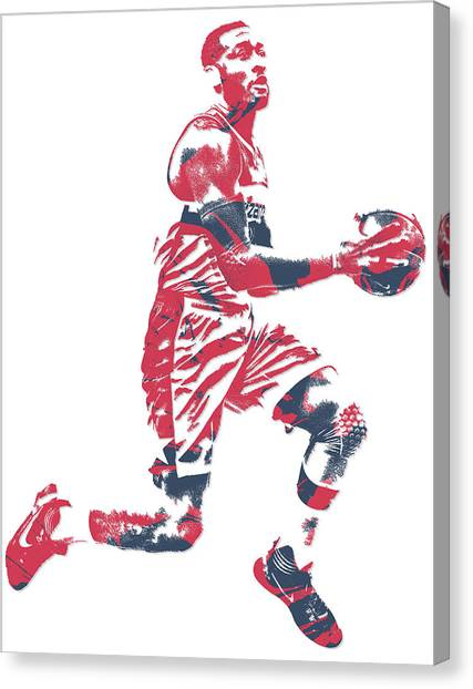 Washington Wizards Canvas Print - John Wall Washington Wizards Pixel Art 16 by Joe Hamilton