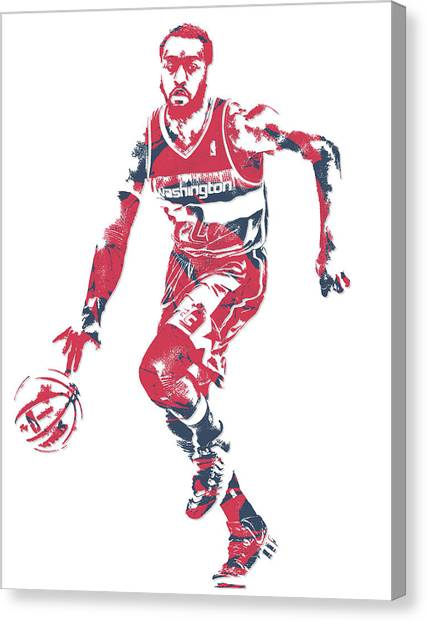 Washington Wizards Canvas Print - John Wall Washington Wizards Pixel Art 17 by Joe Hamilton