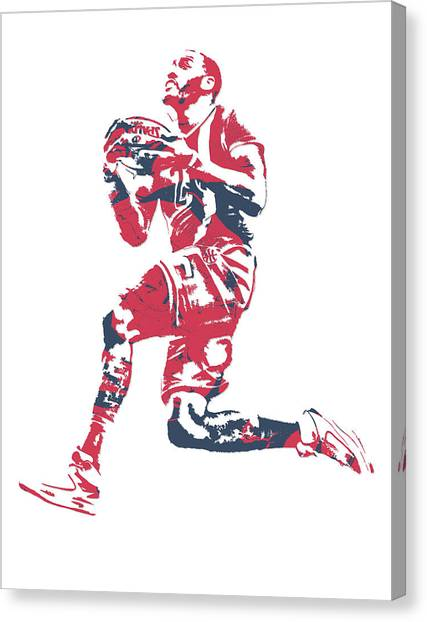 Washington Wizards Canvas Print - John Wall Washington Wizards Pixel Art 20 by Joe Hamilton