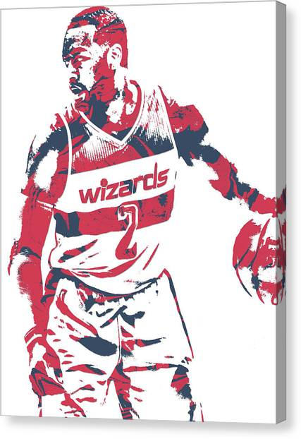 Washington Wizards Canvas Print - John Wall Washington Wizards Pixel Art 31 by Joe Hamilton
