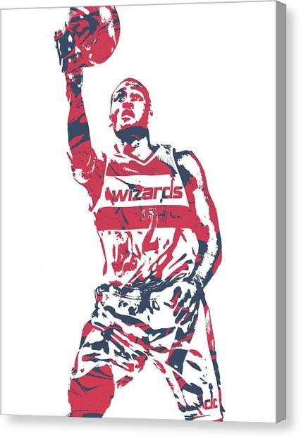 Washington Wizards Canvas Print - John Wall Washington Wizards Pixel Art 32 by Joe Hamilton