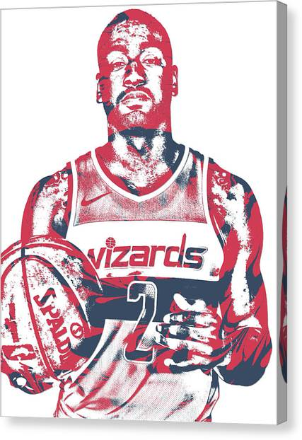 Washington Wizards Canvas Print - John Wall Washington Wizards Pixel Art 34 by Joe Hamilton