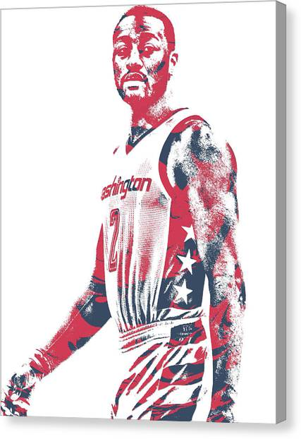 Washington Wizards Canvas Print - John Wall Washington Wizards Pixel Art 37 by Joe Hamilton