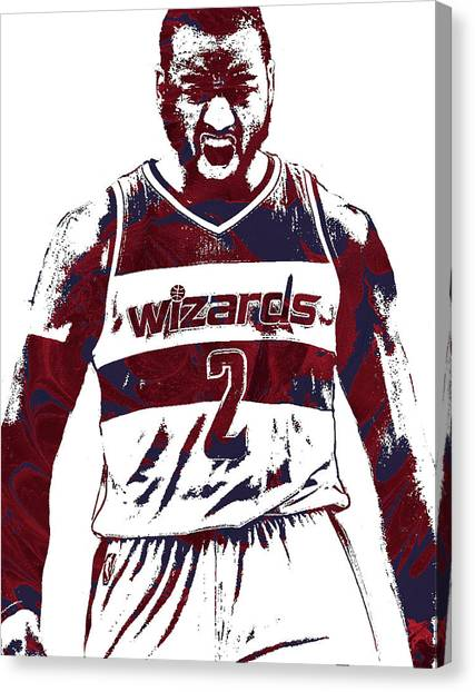 Washington Wizards Canvas Print - John Wall Washington Wizards Pixel Art 5 by Joe Hamilton
