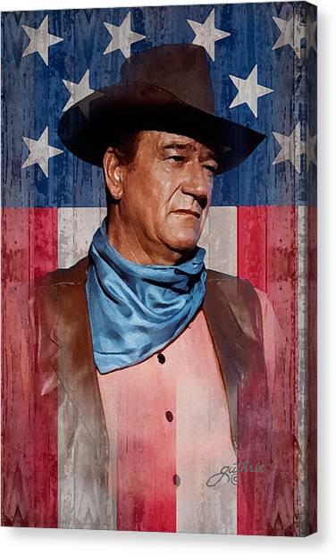 Duke University Canvas Print - John Wayne Americas Cowboy by John Guthrie