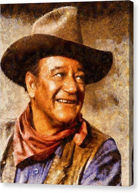 Stardom Canvas Print - John Wayne Hollywood Actor by John Springfield