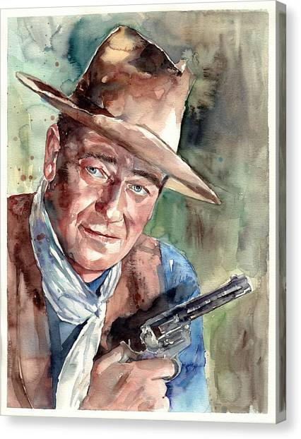 Duke University Canvas Print - John Wayne Portrait by Suzann's Art