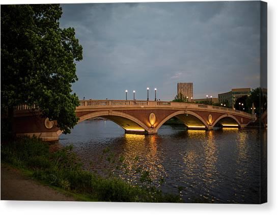 John Weeks Bridge Harvard Square Chales River Sunset Trees 2 Canvas Print