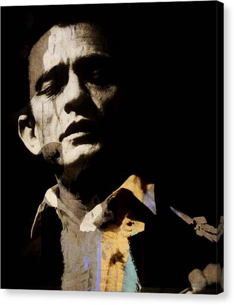Johnny Cash Canvas Print - Johnny Cash - I Walk The Line  by Paul Lovering