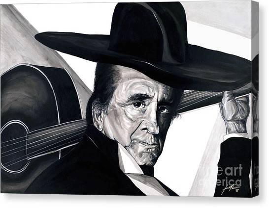 Johnny Cash Canvas Print by Keith  Thurman