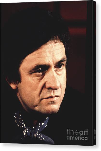 Chris Walter Canvas Print - Johnny Cash The Man In Black by Chris Walter