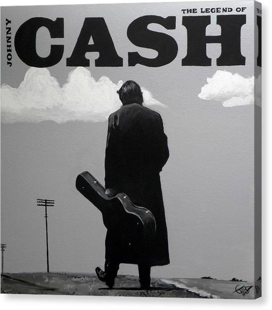 Johnny Cash Canvas Print - Johnny Cash by Tom Carlton