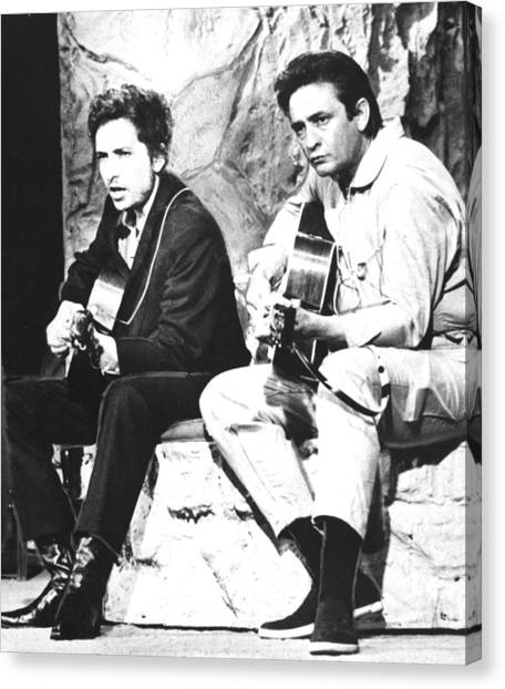 Johnny Cash Canvas Print - Johnny Cash, With Bob Dylan, C. 1969 by Everett