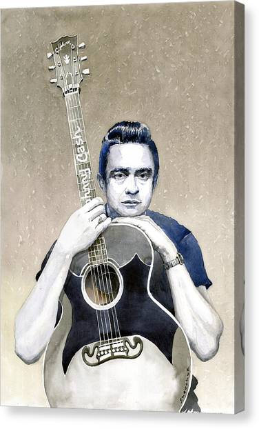 Johnny Cash Canvas Print - Johnny Cash by Yuriy Shevchuk