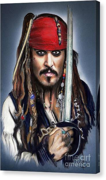 Johnny Depp Canvas Print - Johnny Depp As Jack Sparrow by Melanie D