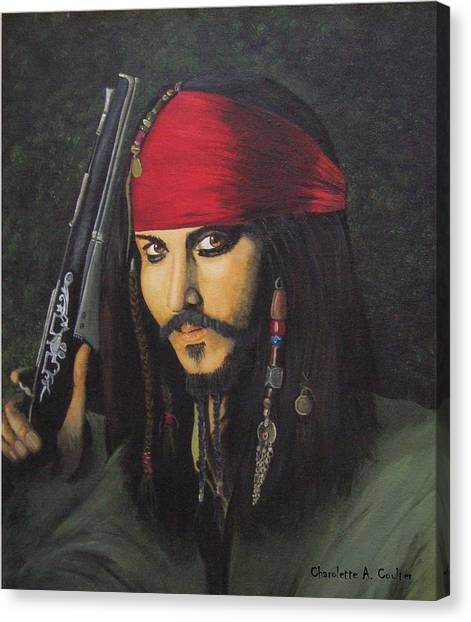Johnny Depp- Captain Jack Canvas Print by Charolette A Coulter