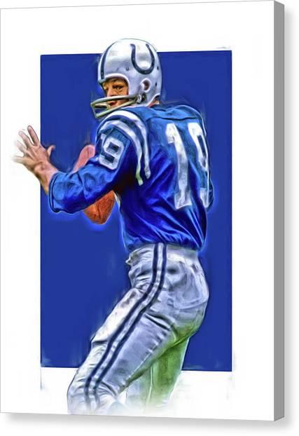 18434bb98 Baltimore Colts Canvas Print - Johnny Unitas Baltimore Colts Oil Art by Joe  Hamilton