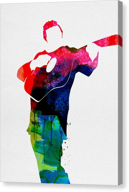 Classical Guitars Canvas Print - Johnny Watercolor by Naxart Studio