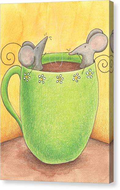 Coffee Canvas Print - Join Me In A Cup Of Coffee by Christy Beckwith