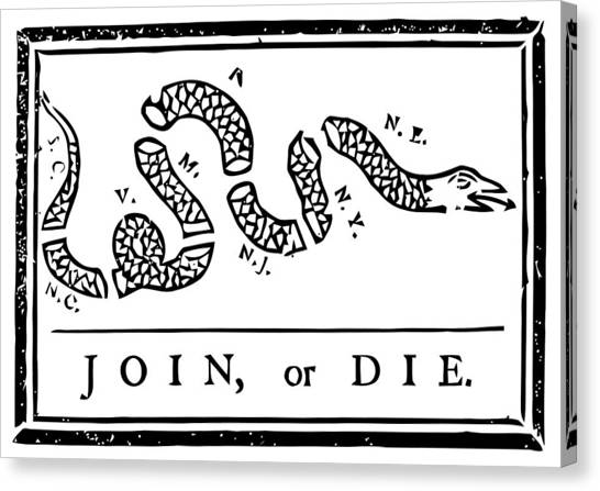 Snakes Canvas Print - Join Or Die by War Is Hell Store