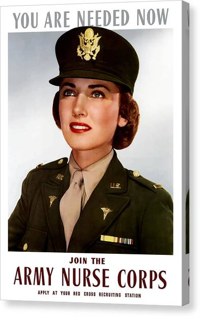 Health Care Canvas Print - Join The Army Nurse Corps by War Is Hell Store