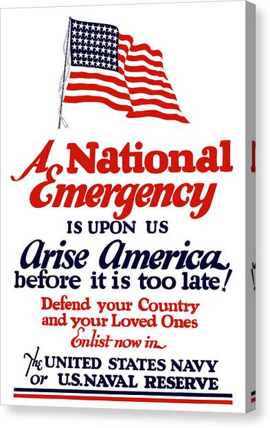 Navy Canvas Print - Arise America Before It Is Too Late - Join The Navy by War Is Hell Store