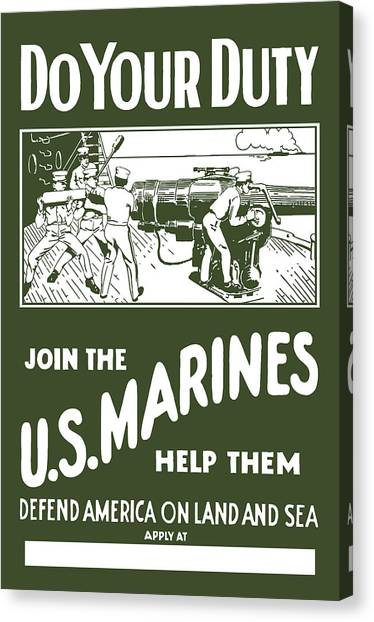 Marines Canvas Print - Join The Us Marines by War Is Hell Store