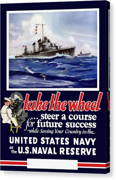 Navy Canvas Print - Join The Us Navy - Ww2 by War Is Hell Store