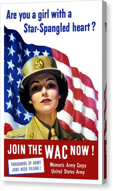 American Flag Canvas Print - Join The Wac Now - World War Two by War Is Hell Store