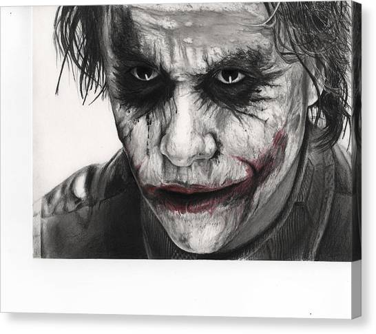Heath Ledger Canvas Print - Joker Face by James Holko