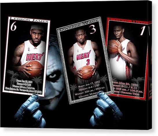 Dwayne Wade Canvas Print - Jokers Heat by Grant Heavey