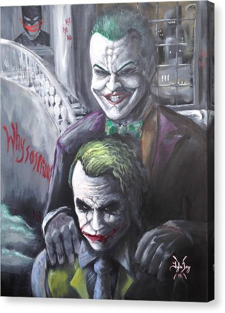 Heath Ledger Canvas Print - Jokery In Wayne Manor by Tyler Haddox