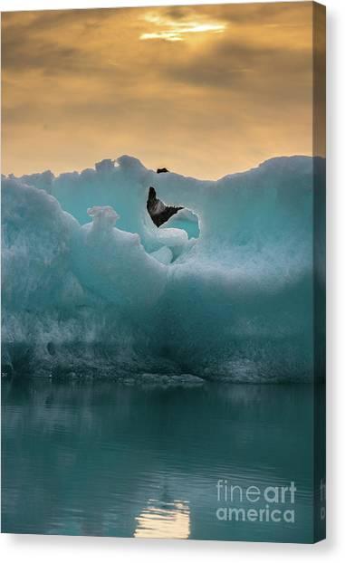Vatnajokull Glacier Canvas Print - Jokulsarlon Ice Sculptures by Mike Reid