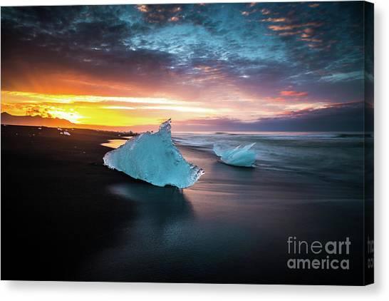 Vatnajokull Glacier Canvas Print - Jokulsarlon Iceland Blue Ice Sunrise Serenity by Mike Reid