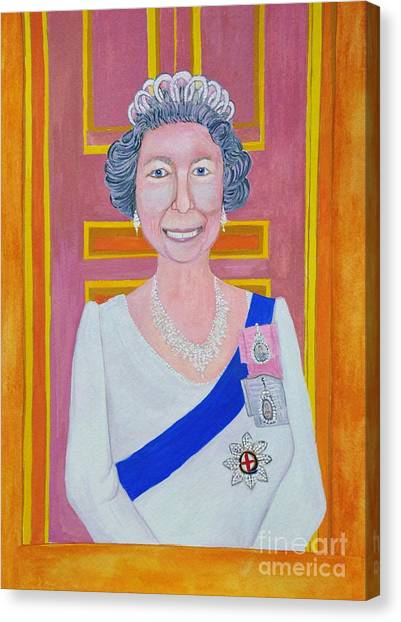 Queen Elizabeth Canvas Print - Jolly Good Your Majesty by Reb Frost
