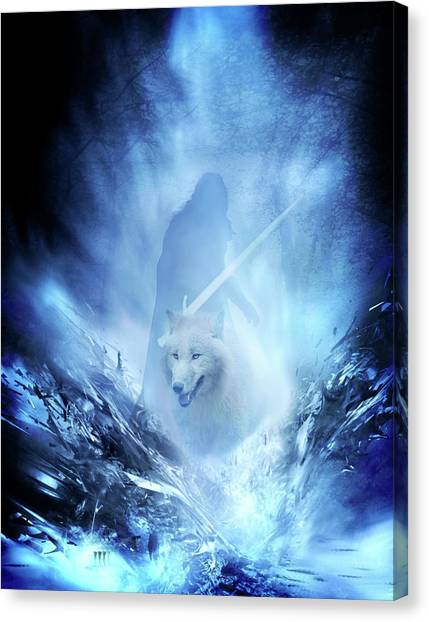 Jon Snow And Ghost - Game Of Thrones Canvas Print