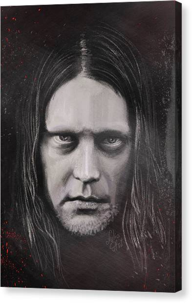 Canvas Print featuring the drawing Jonas P Renkse Musician From Katatonia Band By Julia Art by Julia Art
