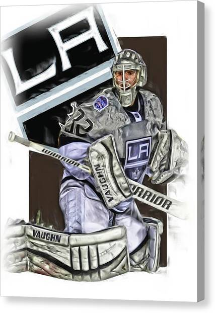 Los Angeles Kings Canvas Print - Jonathan Quick Los Angeles Kings Oil Art by Joe Hamilton