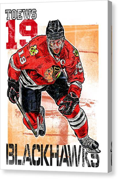 Ice Skating Canvas Print - Jonathan Toews by Maria Arango