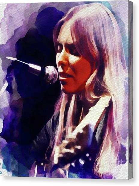 Joni Mitchell Canvas Print - Joni Mitchell, Music Legend by John Springfield