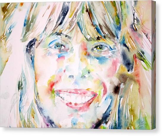 Joni Mitchell Canvas Print - Joni Mitchell - Watercolor Portrait by Fabrizio Cassetta