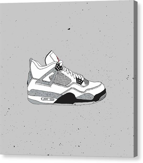 on sale 63f13 b76f1 Sneakerhead Canvas Print - Jordan 4 White Cement by Letmedraw Yourpicture