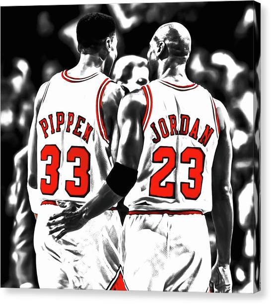 Utah Jazz Canvas Print - Jordan And Pippen 23c by Brian Reaves