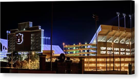 Auburn University Canvas Print - Jordan Hare Jumbotron Lights The Night by JC Findley