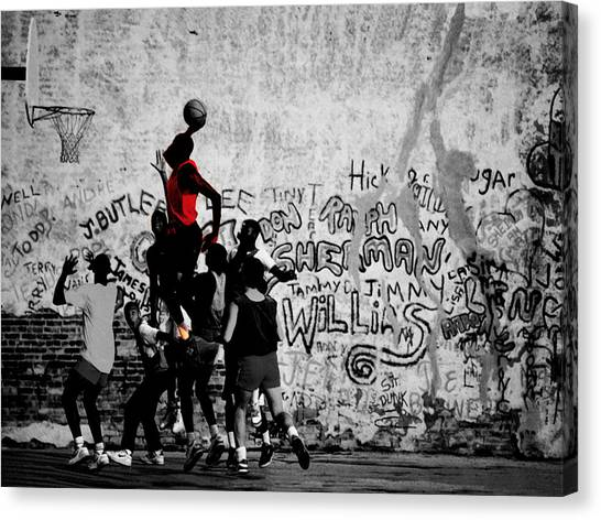 Russell Westbrook Canvas Print - Jordan On The Playground by Brian Reaves