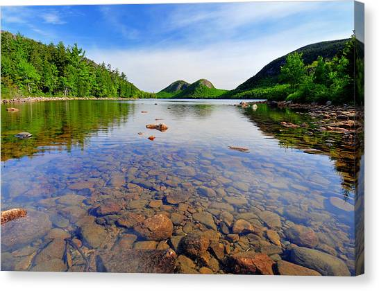 River Jordan Canvas Print - Jordan Pond And The Bubbles by Expressive Landscapes Fine Art Photography by Thom