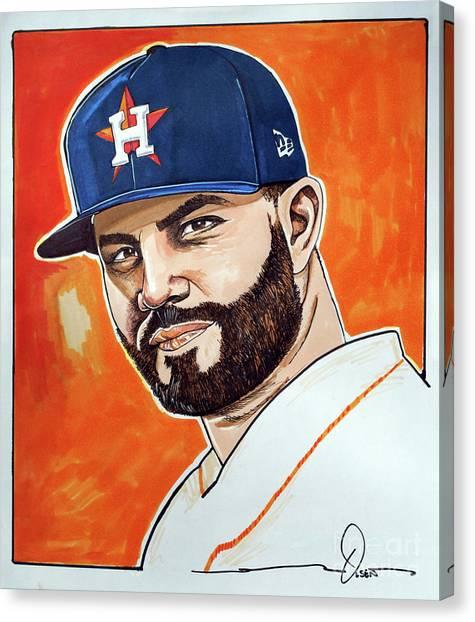 Houston Astros Canvas Print - Jose Altuve by Dave Olsen